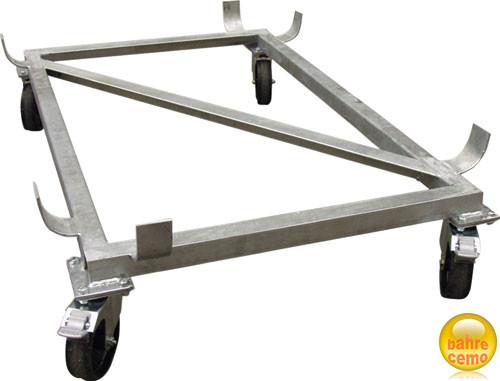 Lenkrollengestell aus verzinktem Stahl, Lenkrollen ø 250 mm