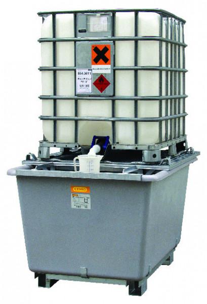Beispiel IBC-Auffangwanne aus GFK mit Zubehör ausgestattet