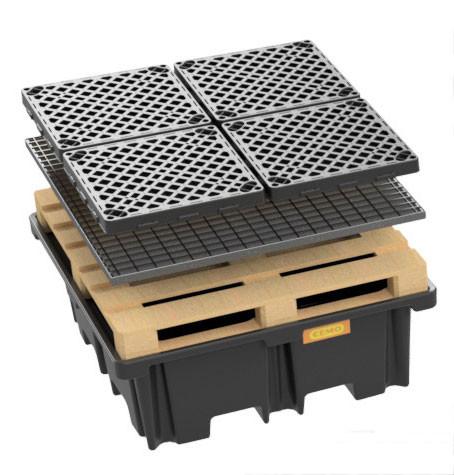 PE-Palettenauffangwanne 400/4 - optional mit Stahlgitterrost oder PE-Rost