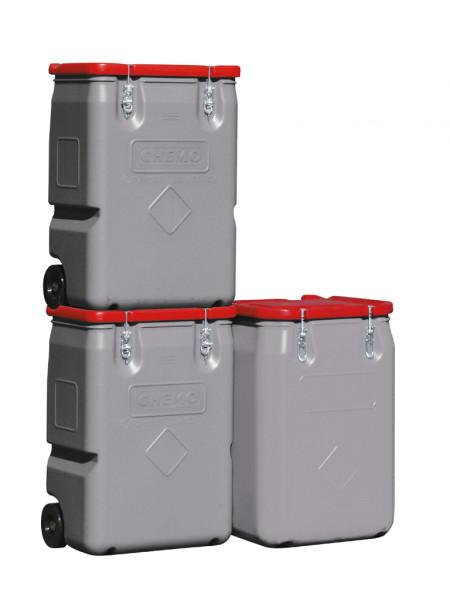 Mobil-Box mit Zulassung 170 und 250 Liter Inhalt gestapelt – Deckel rot
