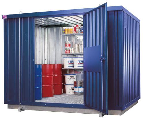 Beispiel Sicherheits-Raumcontainer SRC 3.1 verzinkt und lackiert mit Türe an der Längsseite