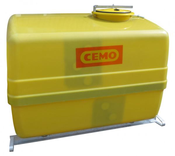 Beispiel für GFK-Fass 3000 Liter mit Querschwallwänden und Stahlkufen – seitlich versetzter Einfülldom ø 420 mm