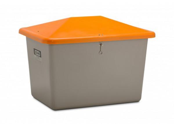Cemo Streugutbehälter grau mit Deckel orange ohne Entnahme-Öffnung