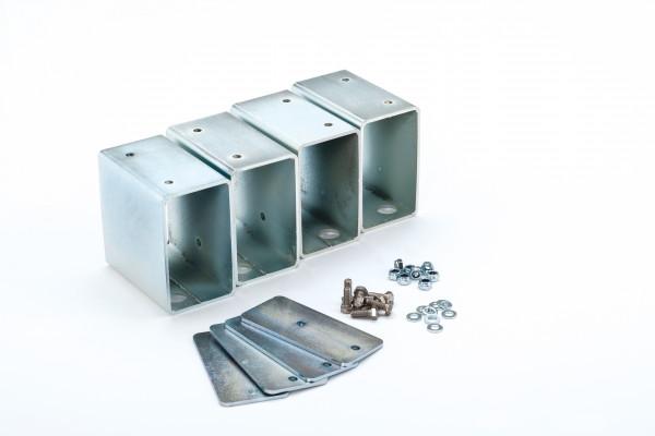 Stapelfüße-Set mit 4 Metallfüßen | Schrauben und Metallplatten