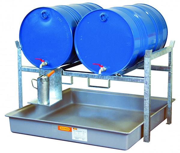 Variante 1 Fassregal Typ 800 mit Fassauflage für 2 x 200-l-Fässer