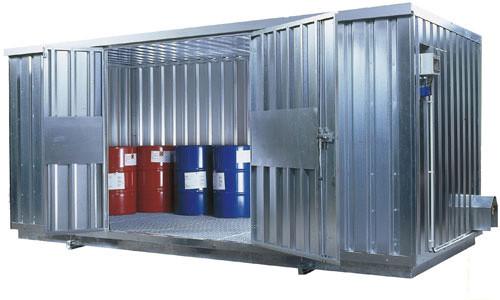 Beispiel Sicherheits-Raumcontainer SRC 5.1W verzinkt mit Türe an der Längsseite
