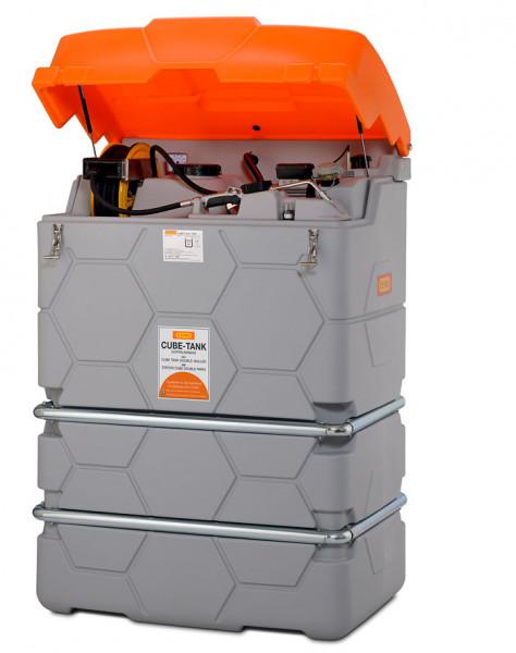 CEMO Schmierstofftank CUBE Basic-Indoor – Beispiel mit Klappdeckel und Schlauchaufroller
